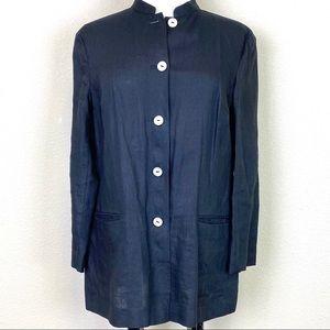 KATE HILL Black Irish Linen Button-Front Jacket